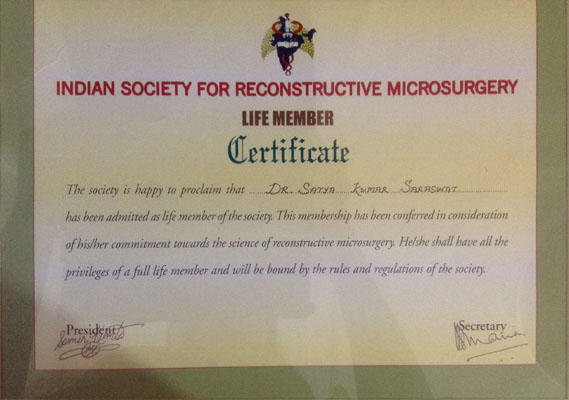 Indian Society for Reconstructive Microsurgery, Life Member