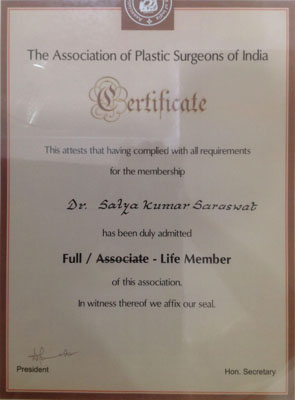 The Association of Plastic Surgeons of India, Full-Life Member