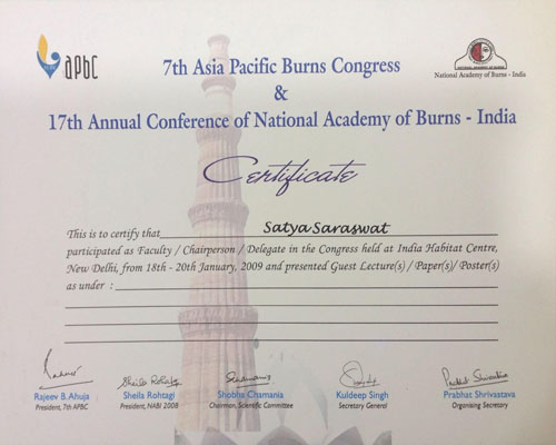 APBC 2009, 17th Annual Conference of National Academy of Burns - India