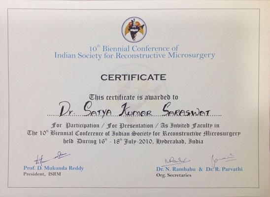 Indian Society for Reconstructive Microsurgery, 2010